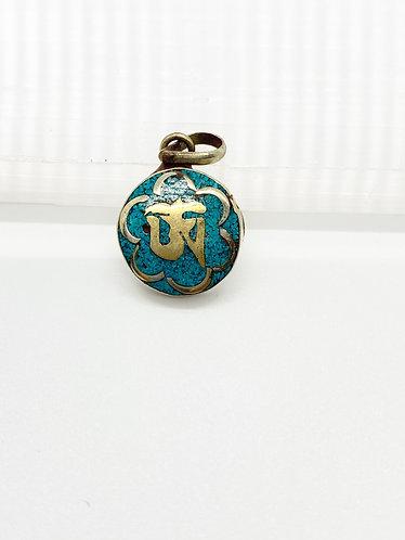 Handmade Tibetan OM Pendant with Turquoise