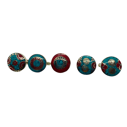Round Turquoise/Coral Rings/Tibetan Rings/Gemstone Rings/Hippie Rings/Ethnic Boh