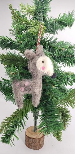 Handmade Felt Christmas Ornaments from Nepal, Felt Animal Ornaments, Christmas D
