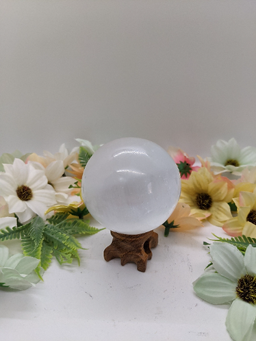"Selenite Sphere, 75mm Selenite Crystal Ball,3"" Selenite Cleanse Gemstones,Calmin"