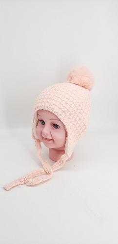 Handknit Fleece Lined Kids/Toddler  Hat with Pompom ,Kids Beanie Hat Unisex Todd
