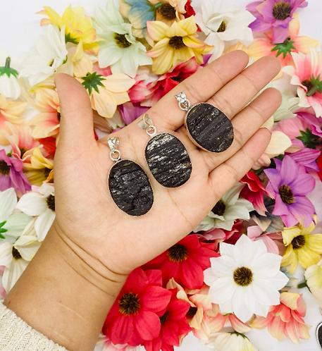 Natural Raw Black Tormaline Pendants