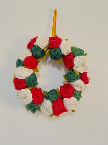 Handmade Felt Flower Wreath, Wreath, Christmas Decor, Home Decor, Modern Wreath,