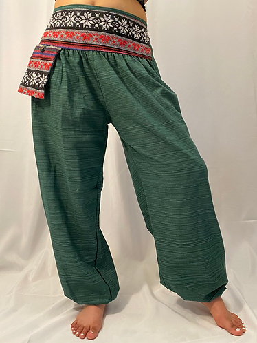 Solid Cotton Pant with Hand Embroidery