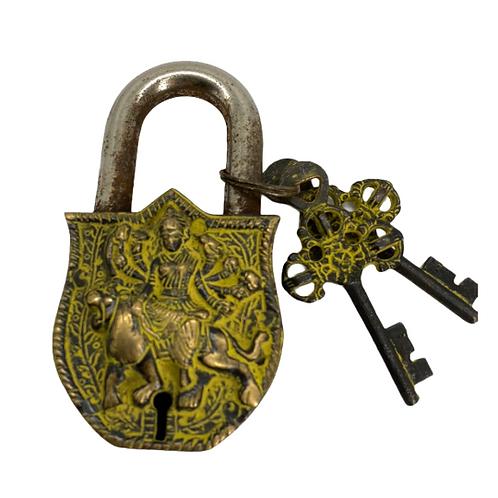 Handmade Brass Durga Lock with Two Keys/Unique Padlocks/Vintage Brass Locks