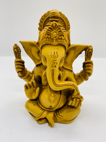 5 inches Ganesha Resin Statue, Handcarved Vintage Ganesh Stautue, Good Luck, New