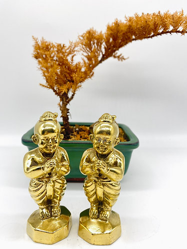 Handmade Brass Baby Buddha Pair, Energy, Respect & Peace Hand Gesture Statue