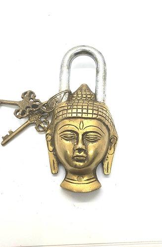 Handmade Brass Buddha Lock with two Keys
