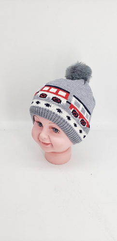 Handmade  Fleece Lined Baby Hat with Pompom, Car Design Baby Hat, Unisex Baby Wi