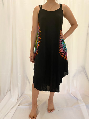 Sleeveless Blue/Orange Tie dye Dress
