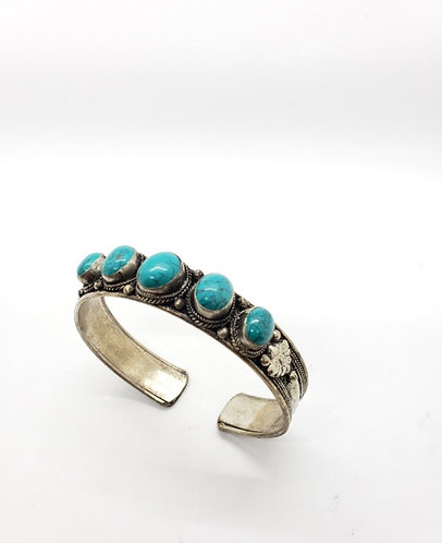 Ethnic Handmade Turquoise Cuff Metal Bracelet