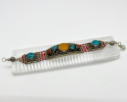 Round Amber Tibetan Tribal Fusion Handmade Bracelet