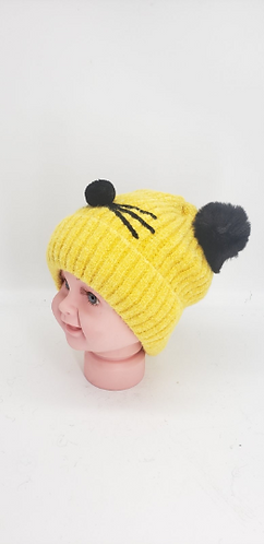 Handmade Unisex Fleece Lined Baby Hats with Two Pompom,Cute Pompom Kids Hat, Kid