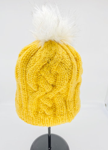 Hand Knitted  Fleece Lined Wool Hat with Pompom from Nepal