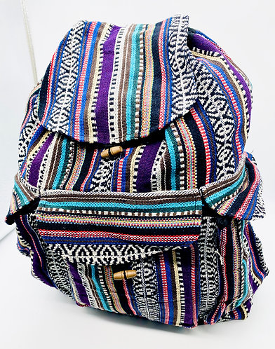 Handmade Striped Cotton Backpack from Nepal