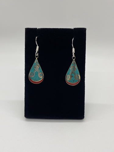 Turquoise/coral Earring