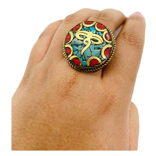 Ethnic Tibetan Buddha Ring from Nepal/Adjustable Multistone  Rings/ Eye of Buddh
