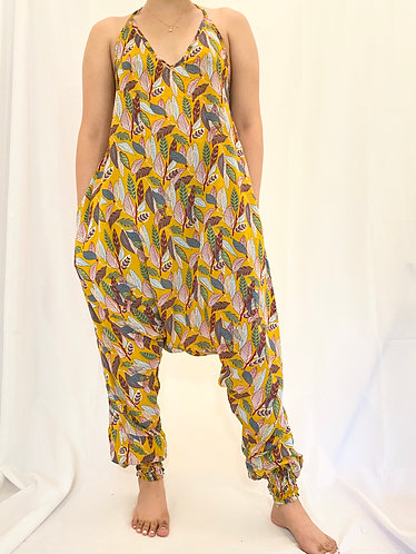 Yellow Backless Jumpsuit with Leaf Print