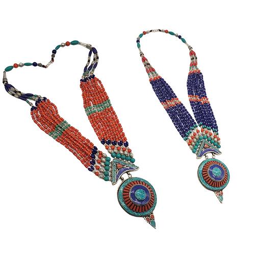 Vintage Turquoise, Coral ,Lapis Lazuli Multi Strand Necklace