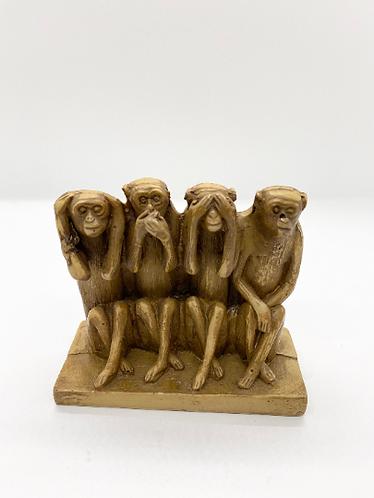 Handmade 4 Monkey Statue, Decorative Monkey Statue
