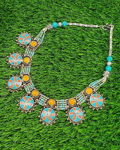 Turquoise Coral Amber  Ethnic Necklace