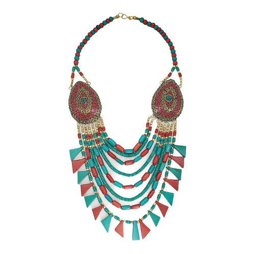 MultilayerTurquoise Coral Necklace