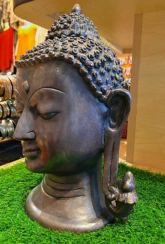 "Handmade Brass Buddha Head Statue,12"" Buddha Tranquility Head, Lord Buddha Statu"