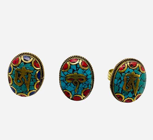 Tribal Ethnic Hanmdade OM/ Buddha Eye Adjustable Ring,Turquoise Coral Lapis Lazu