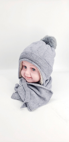 Kids Pompom Beanie Hat with Matching Neck Scarf, Knitted hat set for kids,Unisex