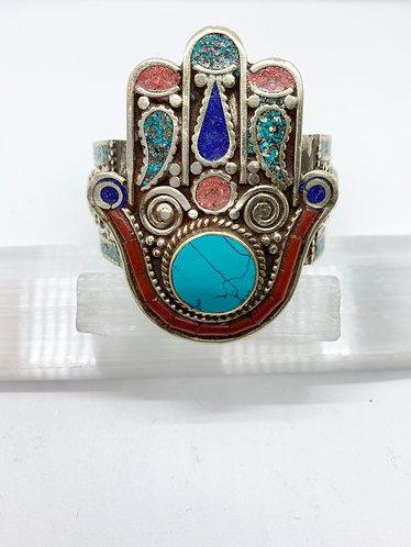 Blessing Hand in  Tibetan Tribal Fusion Handmade Bracelet