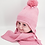Thumbnail: Kids Pompom Beanie Hat with Matching Neck Scarf, Knitted hat set for kids,Unisex