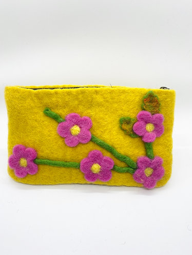 Handmade Felt Flower Purse with Zipper