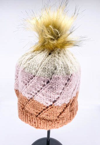 Hand Knitted Multi color Fleece Lined wool Hat with Pompom from Nepal