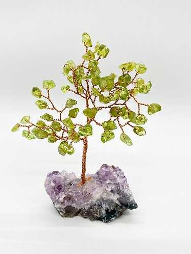 Peridot Prosperity/Feng Shui Bonsai Tree with Amethyst Base