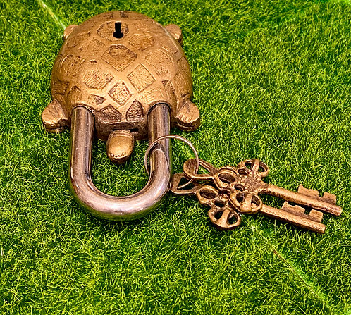 Handmade Brass Turtle Lock with Two Keys