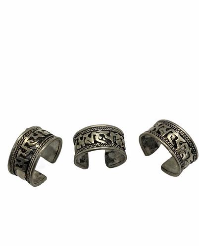 Tibetan Buddhist Healing Mantra Ring, Compassion Ring, Om Mani Pad Mi Hu Mantra