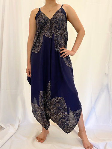 Blue Loose Bohemian Jumpsuit