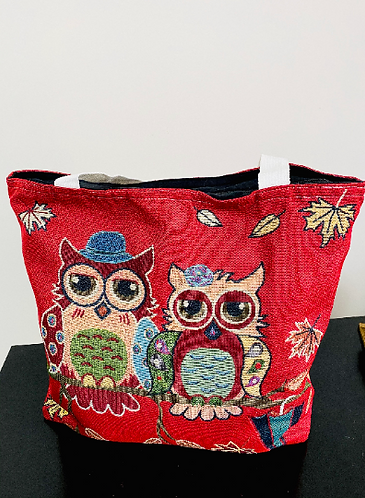 Handmade Owl Cotton Tote Bag, Cotton Bags , Owl Bags, Double Sided Owl Print Bag