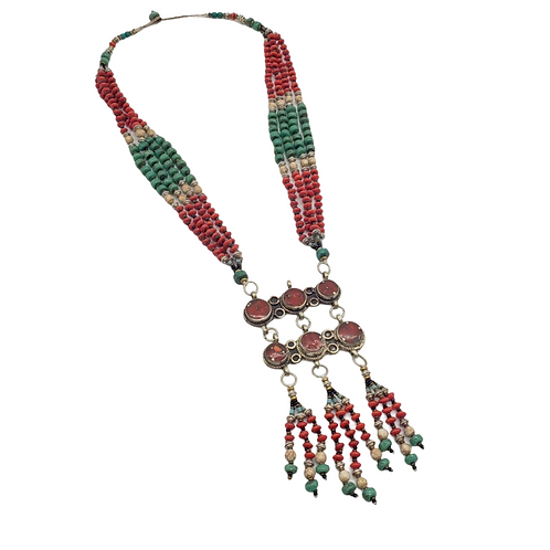 Multi Strand Turquoise/ Coral Vintage Necklace