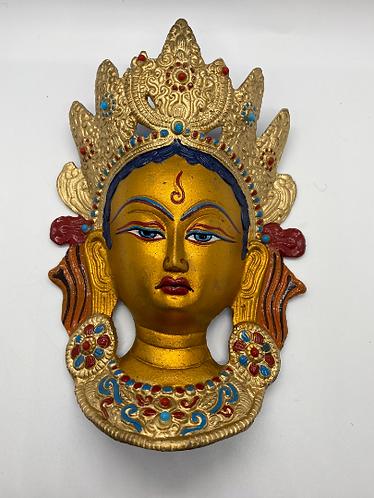Handmade Multicolor Brass Tara Wall Hanging, Metal Tara Mask, Goddess of Compass