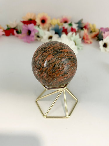Unakite Crystal Sphere, Gemstone for Grounding, Stone of Vision