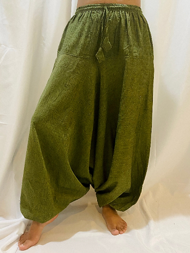 Handmade Cotton Harem Pants from Nepal, Solid Cotton Bohemian Pants