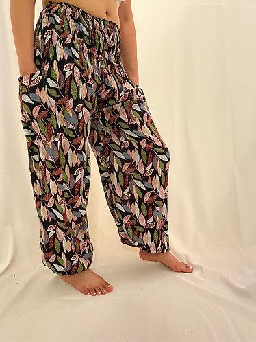 Harem Bohemian Yoga Pants with Leaf Print