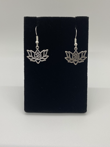 Lotus with Om Earring