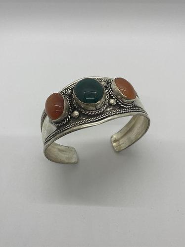Ethnic Handmade  Carnelian/Jade Cuff Metal Bracelet