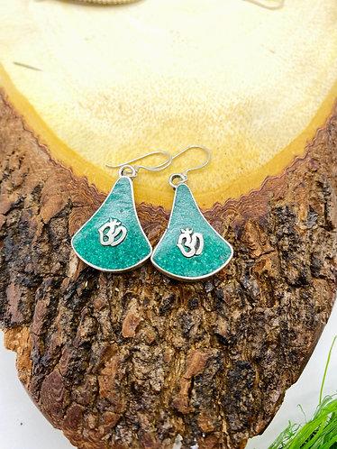 Handmade Antique OM Symbol Tibetan Silver Earring from Nepal