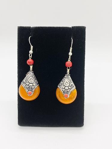 Nepali Amber Earring with Tibetan Silver, Turquoise, Lapis Lazuli , Coral