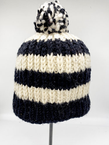 Multicolor Hand Knitted Fleece Lined Wool Hat with Pompom from Nepal