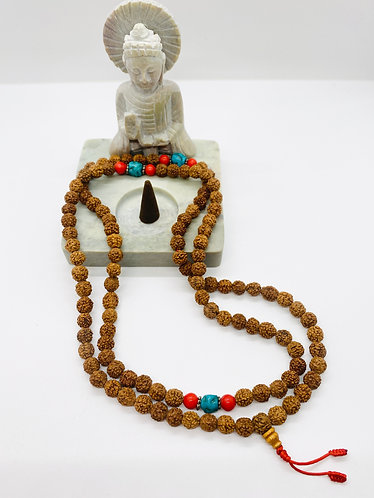 Handmade Rudraksha Prayer Beads with Turquoise and Coral