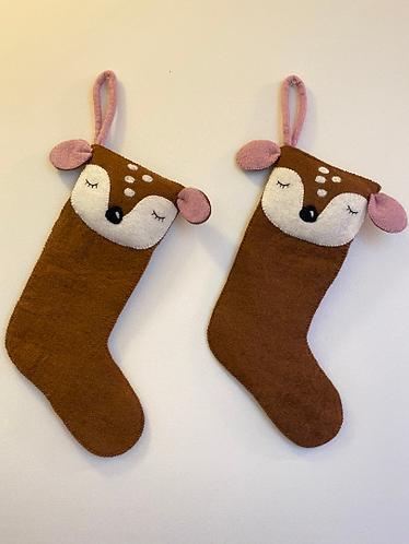 Handmade Felt Wool Animal Christmas Stocking from Nepal,Reindeer Sheep Bear Fox